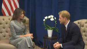Prince Harry and Melania Trump meet in Toronto (01:00)