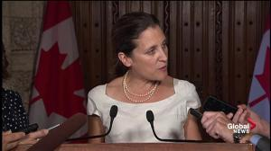 Freeland says proposals for 'contentious' NAFTA issues not received yet from U.S.