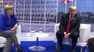 Trump, Merkel meet shortly after Trump blasts German pipeline plans
