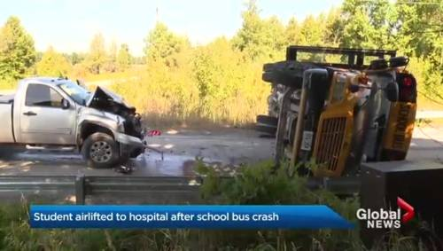 Student airlifted to hospital after collision involving school bus in  Innisfil