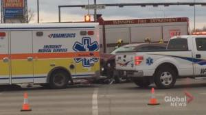 Ambulance crash blocks Regent Avenue eastbound and Lagimodiere Boulevard northbound
