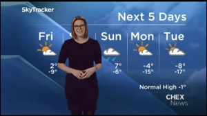 Sunshine and a high of 2°C for Friday