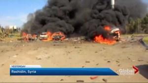 Larger evacuation effort on hold in Syria after suicide blast targets convoy