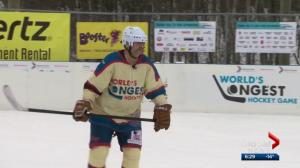 Meet the oldest player taking part in the World's Longest Hockey Game