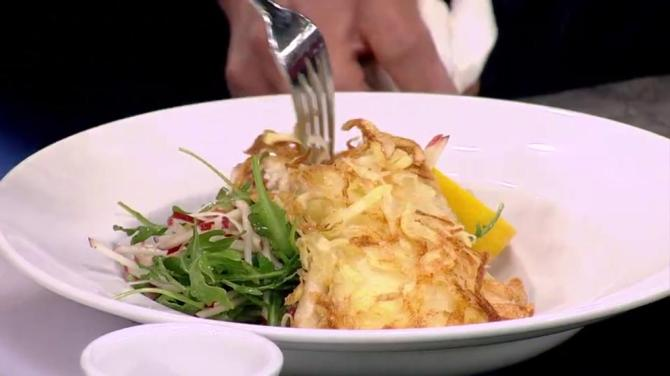 Recipe: Potato-crusted halibut with lemon butter sauce