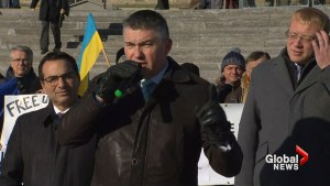 Ukrainian Canadian Congress demonstrates against Russian aggression in front of Parliament Hill