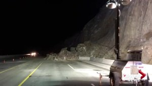 Highway 97 remains open following large rockslide north of Summerland