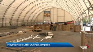 Patios playing music later during 2019 Calgary Stampede