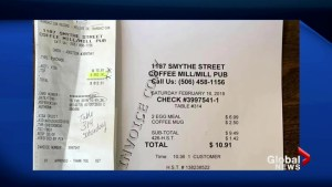 A New Brunswick Waitress just got an $800 tip