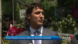 Justin Trudeau visits Danforth shooting memorial