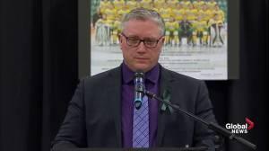 Humboldt Broncos vigil: Broncos President Kevin Garinger gives emotional address