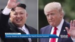 Trump flies off to Singapore for summit with Kim Jong Un