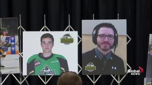 Humboldt Broncos vigil: Team president fights back tears reading out names of victims in tragic crash
