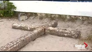 Massive barnacle-encrusted wooden cross washes up in Florida
