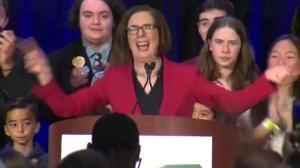 Midterm Elections: Oregon governor Kate Brown celebrates victory