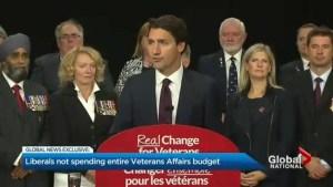 Trudeau Liberals leave $372 million meant for veterans unspent