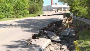 Dam failure washes out Quinte West road