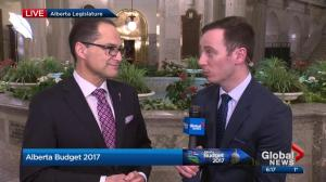 Finance Minister Joe Ceci talks to Global News about Alberta budget