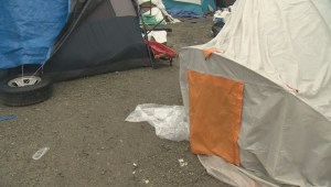 Tempers fly at the site of a Vancouver homeless camp