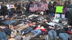 Protesters at White House conduct 'die in' protest in response to Florida school shooting