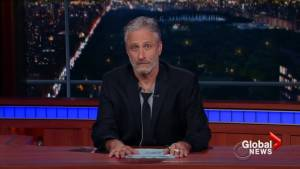 'I see you and I see your bullsh*t!': Jon Stewart takes over Stephen Colbert's show to deliver scathing rant