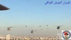 Iraqi helicopters fly over Baghdad in victory over ISIS