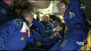 New ISS crew, including Canadian David Saint-Jacques, welcomed aboard the space station