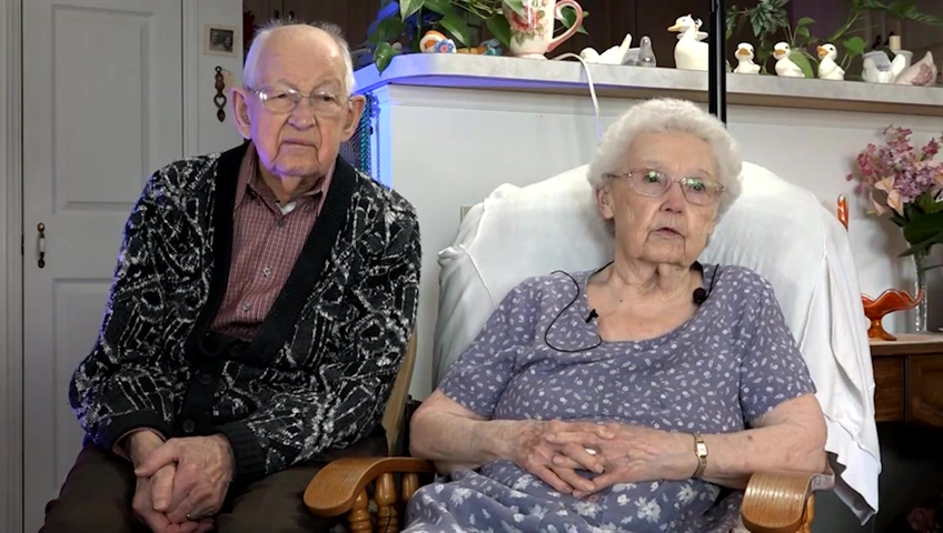 Sweet couple, ages 92 and 104, named Irma and Harvey