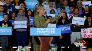 Clinton says Trump has 'doubled down' on locker room talk defence