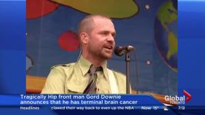 Tragically Hip frontman Gord Downie has terminal brain cancer