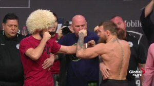 Khabib to Conor McGregor fans at UFC 229 weigh-in: 'I'm going to smash your guy'