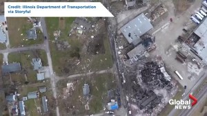 Drone footage captures aftermath of tornado in Taylorville, Illinois