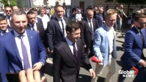 Ukraine's newly inaugurated president takes a stroll to his office