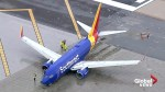 Torn pavement after SouthWest Airlines flight skids off runway at Hollywood Burbank Airport
