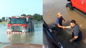 Texas residents use their trucks to help free trapped firetruck