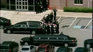 Aerial footage of Bobbi Brown funeral