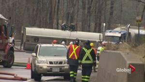 Tanker rollover east of Orangeville leaks thousands of litres of gasoline (01:46)
