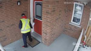 Canada Post worker appears on video to make no attempt to deliver package