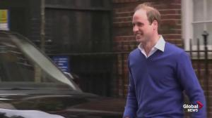 Prince William all smiles as he leaves hospital following birth of daughter