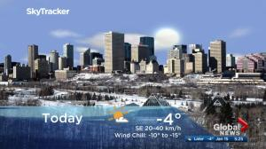 Edmonton early morning weather forecast: Monday, January 15, 2018