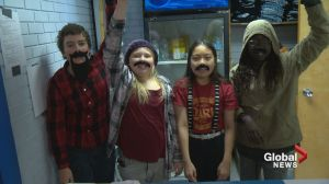 Calgary students make moustaches for Movember