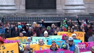 Hundreds protest outside international climate change summit in Paris