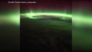 Astronaut Tim Peake captures aurora australis from ISS