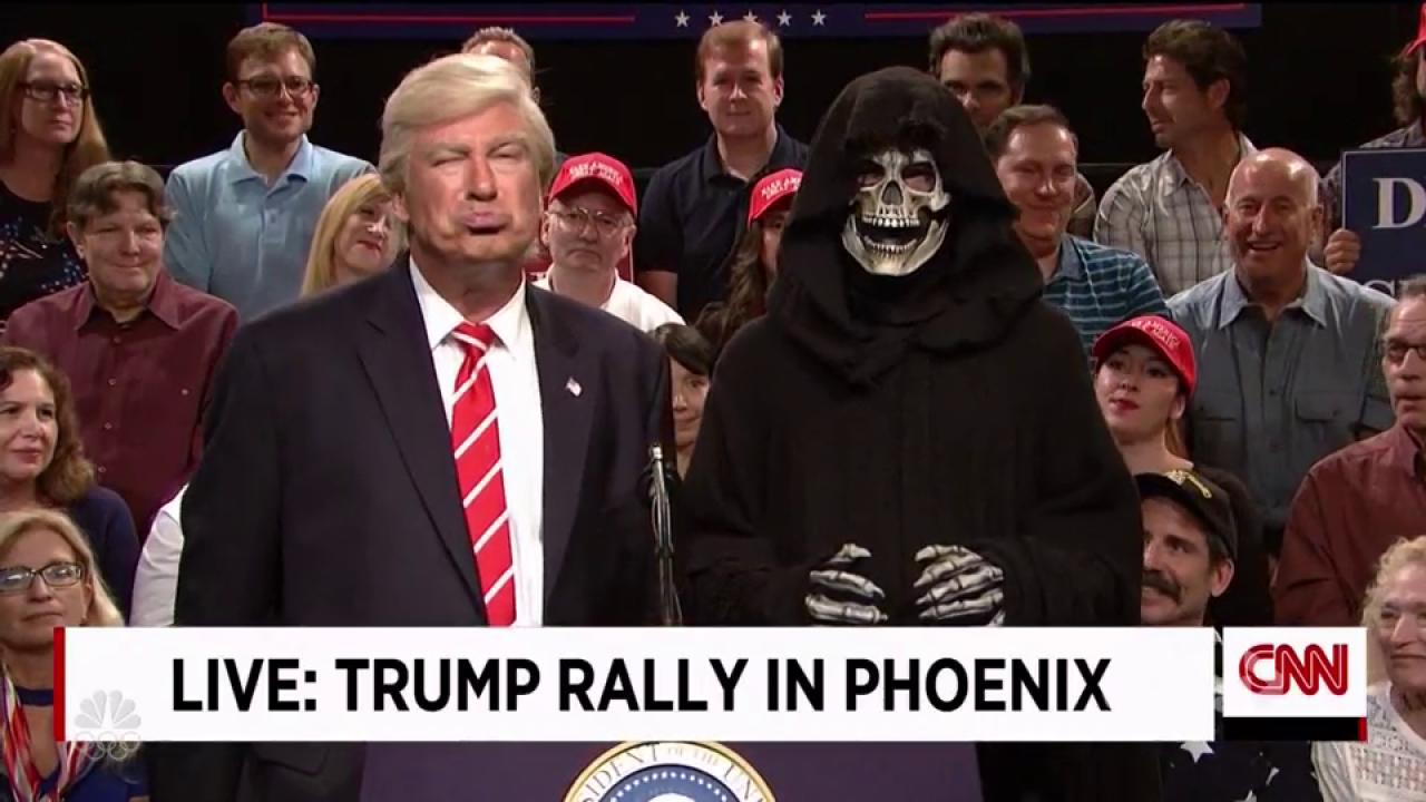 Alec Baldwin's Trump Says Goodbye to Grim Reaper Bannon on Special 'SNL'