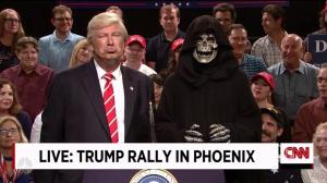 Alec Baldwin returns as Donald Trump to mock his Phoenix rally on SNL Weekend Update