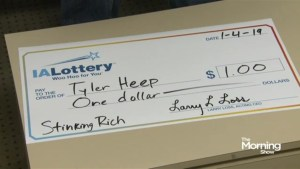 Iowa man asks for novelty cheque after winning a dollar