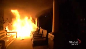 Toronto man films late-night fire that breaks out on his front porch in Junction Triangle