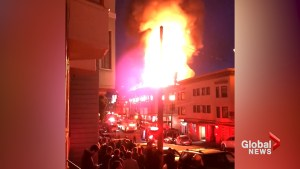 Flames light up night sky as 4-alarm fire engulfs North Beach neighbourhood in San Francisco