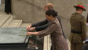 Prince Harry and Meghan Markle visit New Zealand war memorial