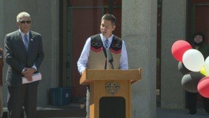 Mayor Brian Bowman speaks at National Aboriginal Day events at City Hall